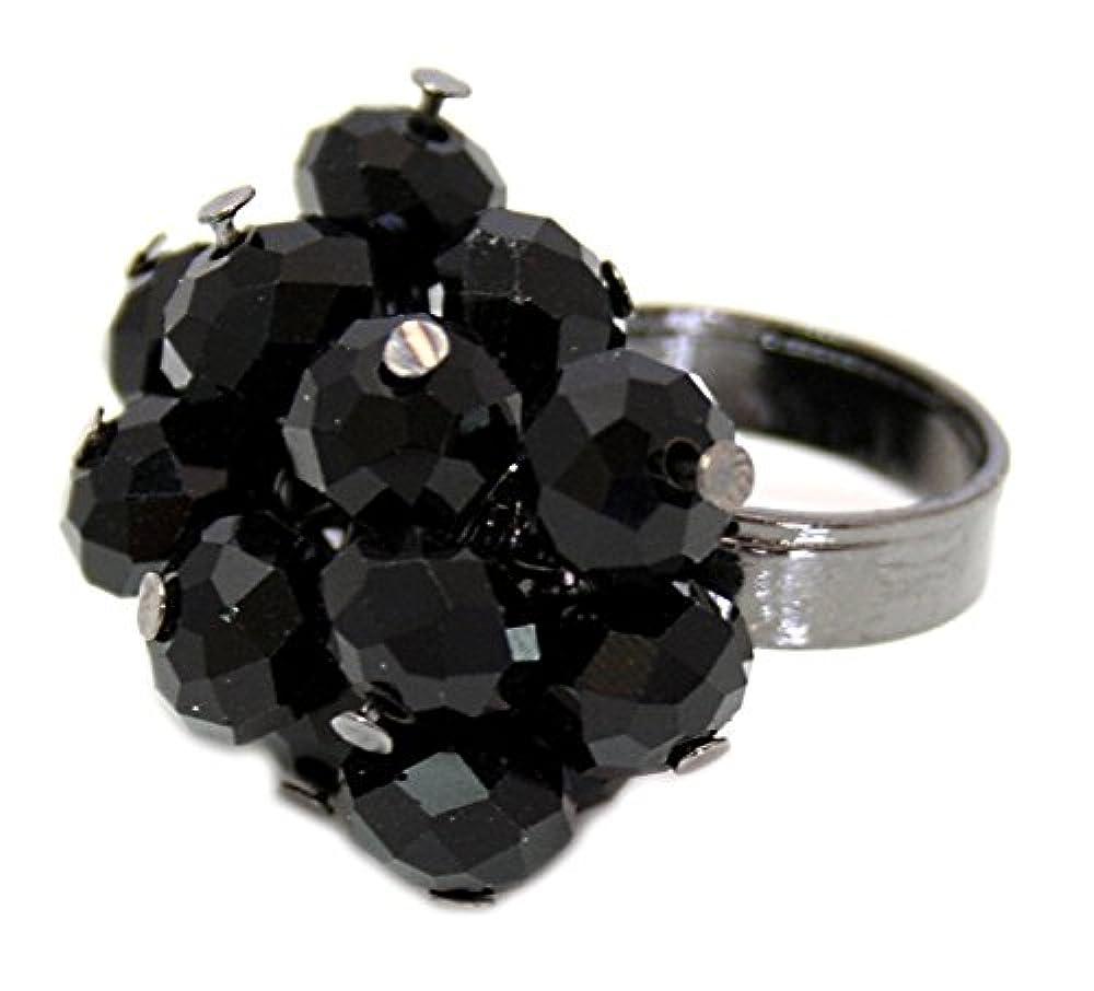 Zest Kristall Stil facettiert Bead Cluster Statement Ring Schwarz Klein