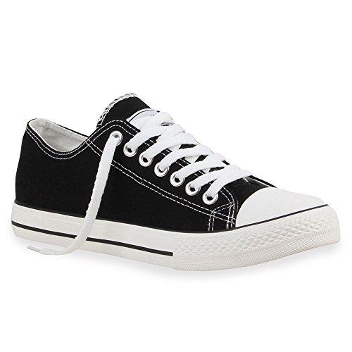 Herren Sneakers Freizeit Sport Schnürer StoffFitness Streetstyle viele Farben Schuhe 16118 Schwarz Ambler 42 Flandell