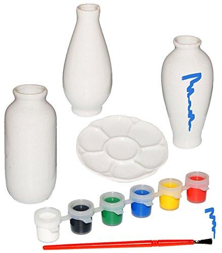 Bastelset: 3 Stück kleine Vasen - weiß - zum selbst Bemalen - Keramik / Porzellan - Set mit 6...