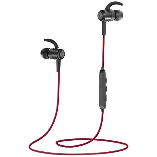 Cuffie Bluetooth Magnetiche 4.1 TaoTronics, Auricolari Impermeabili IPX6 Stereo Wireless Ultraleggere (8 Ore di Riproduzione, Cancellazione del Rumore CVC 6.0, Microfono MEMS) - Rosso