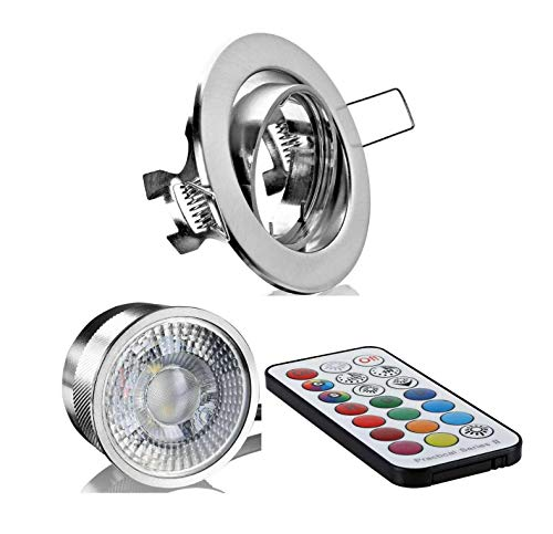 Flacher Flat RGB+WW Einbaustrahler kurz eisengebürstet mit Einbautiefe nur 35mm mit Farbwechsel und Programme, einstellbar über eine Infrarot Fernbedienung 3Watt 230Volt - Led Flat Rgb
