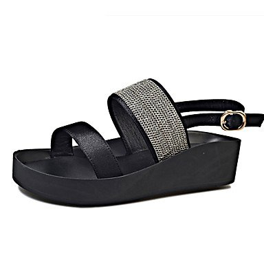 LvYuan Damen-Sandalen-Büro Kleid Lässig-PU-Flacher Absatz-Komfort-Schwarz Grün Black