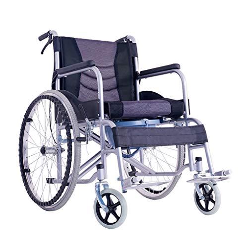 KOSHSH Deluxe Self Propelled Rollstuhlstahl Leichtgewicht Klappwagen Stuhl mit Tisch und Handbremsen Rücklagetasche Maximum Gewicht 120 kg,A