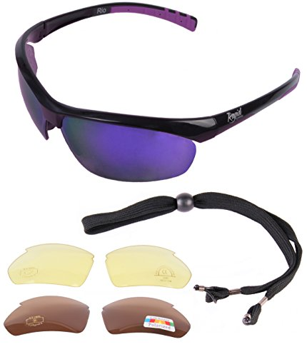 Rio Schwarz UV400 SPORT SONNENBRILLE FÜR DAMEN mit Polarisierte Wechselgläsern. Lila Spiegelgläser. Sport Brille zum Fahren, Laufen, Radfahren, Tennis etc. UV400 Schutz