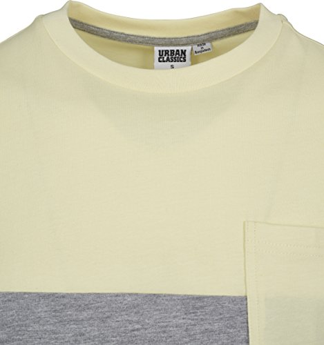 Urban Classics Herren T-Shirt Color Block Summer Pocket Tee gry/powderyellow