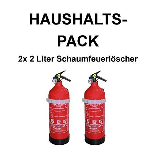 fettfeuerloescher 2x Fettbrandlöscher BASIC für den Haushalt ninux ABF Feuerlöscher Schaum 2 Liter mit Halterung und Manometer