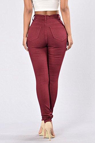 WanYang Femme Jeans Crayon Pantalons Décontractée Trous Délavé Déchiré Slim Fit Taille Haute Collants Été Déchiré Slim Fit Du Vin