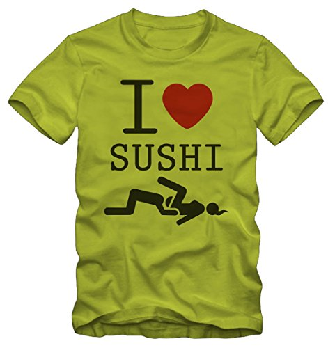 T-shirt Ironica Ironic I love Sushi By Bisura Lime