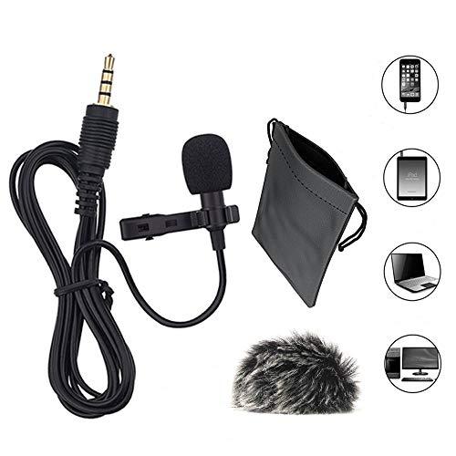Ansteckmikrofon + Fell Mikrofon Windschutzscheibe, 3,5mm Omnidirektionaler Kondensator Clip-on Mic Set für Smartphone, Laptop, PC, Kamera, GoPro und mehr (Was Ist Chat)