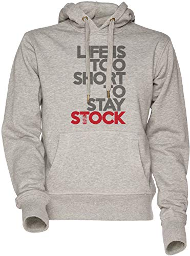 Vendax Life is Too Short to Stay Stock Unisex Herren Damen Kapuzenpullover Sweatshirt Grau Men's Women's Hoodie Grey