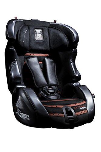 Kiwy 14103DY01B Kinderautositz Daytona 888. SLF123 mit Q-Fix Adapter, Lederausstattung, Einzelanfertigung, Limitierte Auflage, ECE R44/04, schwarz/rot