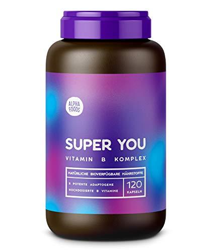 Vitamin B Komplex, optimal dosiert | SUPER YOU | Mit Extrafolate-S® | Stress-Management mit 5 Adaptogenen | 120 Kapseln