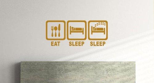 EAT, SLEEP, Schlaf, Kinder/Jugendliche, Schlafzimmer, Vinyl Wandtattoo (57cm x 24cm) gold