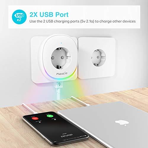 Maxcio Mini Enchufe Wifi con L/ámpara LED Control de APP y Funci/ón de Temporizador Familia Compartida Compatible con Alexa y Google Home Enchufe Inteligente Wifi con Puerto USB No Requiere Hub