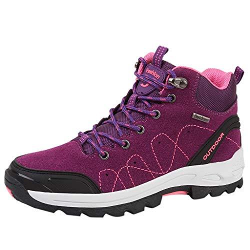 Damen Wanderschuhe Atmungsaktiv Trekking- & Wanderhalbschuhe Bequem Outdoor Wanderstiefel rutschfeste Sportlich Sneaker Anti-Rutsch Wanderhalbschuhe Turnschuhe Laufschuhe (EU:36, Lila)