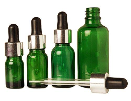 50 pcs verre vert de pipette vide bouteille des huiles d'aromathérapie rechargeables baissent bouteilles de gros boston bouteilles de pipettes ronde 10 ml