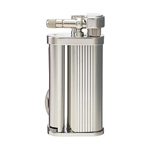 tsubota Pearl Eddie japanischen Premium Pfeifenbesteck Feuerzeug Silber Chrom Streifen Finish