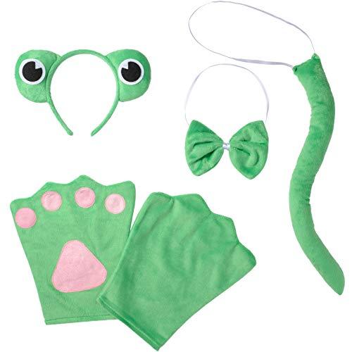 Kostüm Prinzessin Prinz Frosch Und - dressforfun 302042 - Kostüm Set Frosch für Erwachsene, Haarreif mit Augen, Handschuhe, Fliege und Schwanz