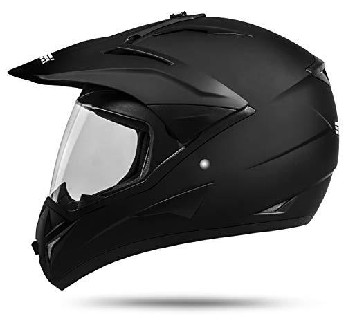 ATO Moto 801 GS War Matt Größe: L 59-60cm Enduro Helm mit Visier Moped Quad ATV Motocross Motorradhelm ECE 2205 (Atv Helm Mit Visier)