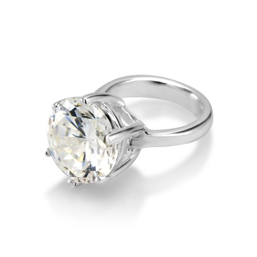 Plata Ley boda anillo imitación Clear Cubic Zirconia