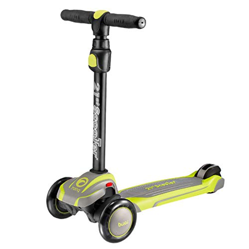 HUAXING 3 Wheel Folding Tri Scooter with Adjustable T Bar Height, for Kids, Children, Adults, Suitable Ages 6,7,8,9,10 to Small Adults Comes,Yellow