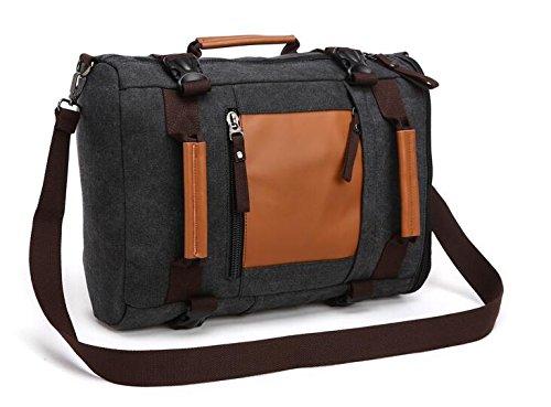 Gendi Unisex Reisen Tasche Gepäck Leinwand Handtasche Sports Duffels Turnbeutel Schule Reisetasche schwarz