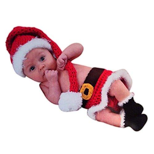 HAPPY ELEMENTS Infant Neugeborenen Kostüm Fotografie Prop Strick SANTA CLAUS (Santa Für Kostüme Baby Jungen)