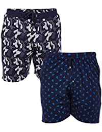VIMAL Navy Blue Printed And Camouflage Navy Blue Shorts For Men(Pack Of 2)
