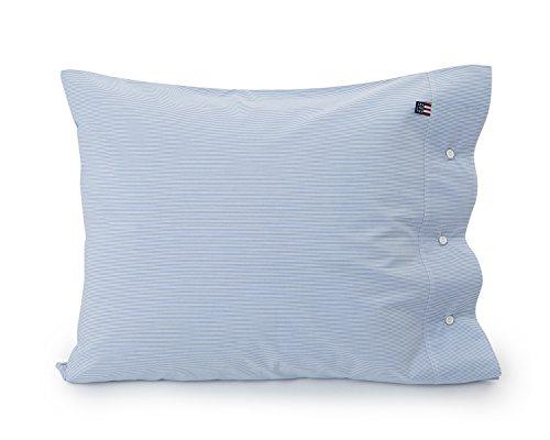 LEXINGTON Mini Stripe Kissenbezug, Popeline, Queensize-Bett, Weiß/Blau (Baumwolle Stripe Aus Mini Bettwäsche)