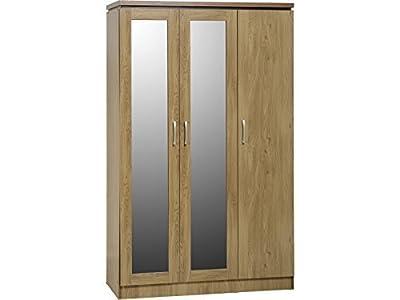 Seconique Charles 3 Door Wardrobe with Mirrors - New All Hanging Model - Oak Effect Veneer with Walnut Trim - cheap UK light shop.