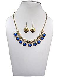Trendeela.com Zoe Stylish Necklace Set With Gold Tone & Blue Work