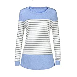 Kobay Women Tops, Ladies' Long Sleeve Round Neck T Shirts Color Block Striped Causal Blouses Tops