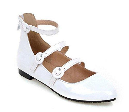 SHINIK Frauen Pumps High Gürtelschnalle Single Schuhe Flache Mund Flache Schuhe Palisander Schuhe Spitz Schuhe Court Schuhe White