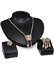 GYJUN Bijoux 1 Collier 1 Paire de Boucles d'Oreille Anneaux Mariage Soirée Quotidien Alliage 1set Femme Doré Cadeaux de mariage