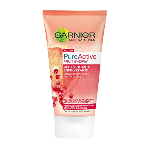 Garnier Pure Active Fruit Energy Gel Esfoliante Energizzante per Pelli Grasse o con Imperfezioni, 150 ml