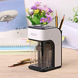 Eagle coffee pot-shaped electric pencil sharpener, safety auto-stop, integrated pin holder, powered by AC / DC adapter(USA adapter)