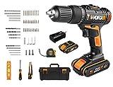 WORX 20V Akku-Schlagbohrschrauber WX371.7, 2,0Ah 2Akkus, Powershare, 55 Tlg. Zubehörset (Handwerkzeuge und...