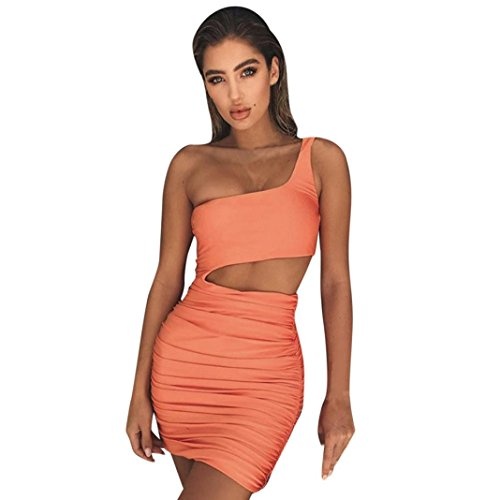 Kleid damen Kolylong® Frauen Elegant Trägerlos Kleid Kurz Vintage Rückenfreies Kleider Slim Bleistiftkleid Etuikleid Festlich Minikleid Strandkleid Cocktail Partykleid Abendkleid (Orange, XL)