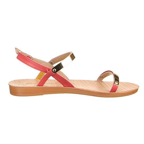 Ital-Design - Scarpe con cinturino alla caviglia Donna Rosso (Corallo)