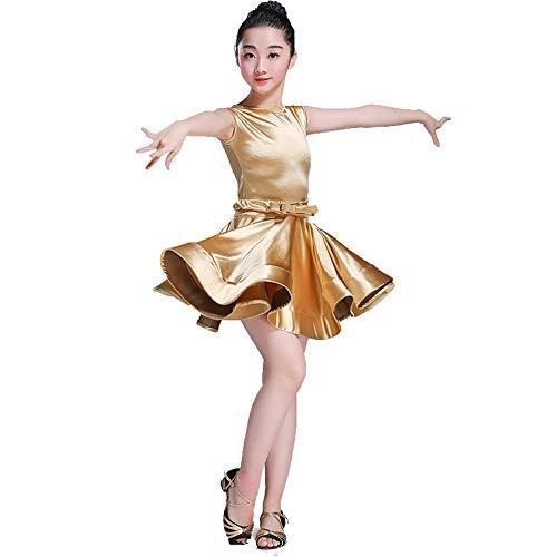 Zhangcaiyun Tango Tanzkleid Outfits Mädchen Kleid Rock Latin Dance Kleid Bühnentanz Kostüm Troddel Flapper Kleid Kostüm (Farbe : Gold, Größe : 110)
