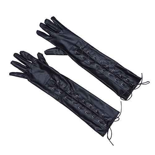 Queen Kostüm Burlesque Sexy - TENDYCOCO Handschuhe Lacklederhandschuhe Sexy Queen Five Fingers Shiny Club Handschuhe (Schwarz)