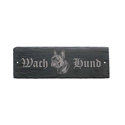 wetterfestes Schild « WACHHUND FRANZÖSISCHE BULLDOGGE » Türschild Hund 22 x 8 cm - Hund Dog French Bulldog (Bulldogge 0.5)