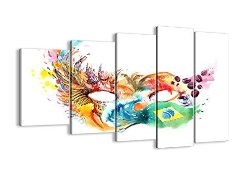 Bild auf Leinwand - Leinwandbilder - fünf Teile - Breite: 150cm, Höhe: 100cm - Bildnummer 3036 - fünfteilig - mehrteilig - zum Aufhängen bereit - Bilder - Kunstdruck - - Rio Karneval Kostüm Bilder