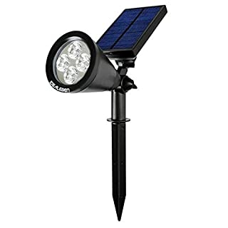Idealeben 200 Lumen Solar Powered Outdoor Lighting / LED Spotlight for Garden Pathway (Black, 6500K, 1 pcs)