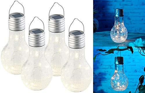 Lunartec LED Solar: 4er-Set Deko-LED-Glühbirne im Crackle-Glas-Design, Dämmerungs-Sensor (Solar-Glühbirnen für Garten)