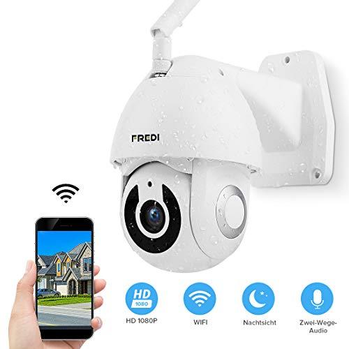 PTZ IP Dome Kamera FREDI Aussen WLAN Überwachungskamera 1080P HD WiFi IP Dome Kamera für Außen IR-Nachtsich IP65 Wasserdicht Bewegungswarnung Sicherheitskamera