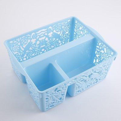 CUPWENH The Plastic Frame Basket Rectangular Box Desktop Kitchen Storage Basket Small Bathroom Storage Basket Sundry Small Frame,Square Blue -