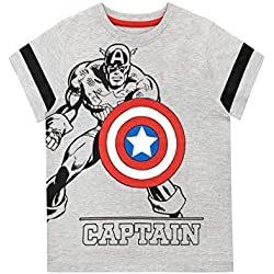 Marvel Camiseta de Manga Corta para niños Captain America Gris 4-5 Años