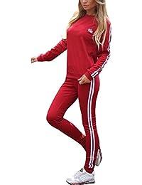 Minetom Mujeres Manga Larga Chándales Sudadera Pantalones Deportivos a Rayas Trajes 2 Piezas Monos Jumpsuit Deportes Jogging Yoga Outfit