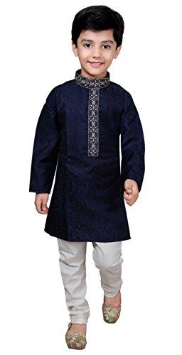 Gandhi Kinder Kostüm - Jungen Sherwani Kurta Pyjama Bollywood Mode Party Wear 932 (9 Jahr, Blaue Marine)